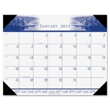 One-Color Photo Monthly Desk Pad Calendar, 22 x 17, 2012