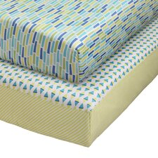 Pattern Play Sheets in Multi Blue & Green
