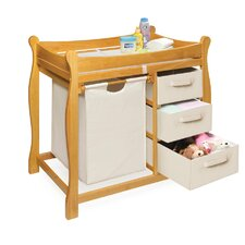 Sleigh Style Baby Changing Table with 3 Baskets & Hamper