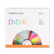 DVD-R, 16X, 4.7GB, Branded w/ Slim Jewel Case, 5 per Pack (Set of 2)
