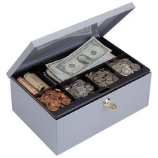 "Cash Box, W/Lock, Deluxe,11-1/4""x7-1/2""x4-3/8"", Gray"