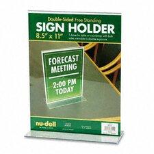 T-Frame Base Desktop Sign Holder, Acrylic, 8-1/2 x 11