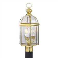 Cast Aluminum Outdoor Post Mount Lantern with Bound Glass