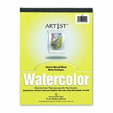Artist Watercolor Paper Pad, 9 x 12, White, 12 Sheets per Pad (Set of 2)