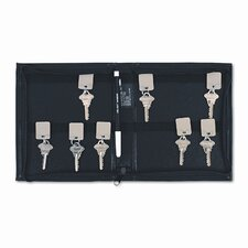 Locking Full-Length Zipper 144-Key Leather-Look Vinyl Case, 7w x 8-3/8h, Black