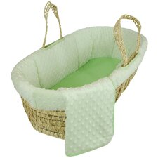 Tadpoles Dimple Velour Moses Basket Set in Green