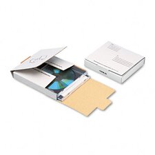 Corrugated CD/DVD Mailer, 5 3/4 x 5 3/4, White, Recycled (Set of 4)