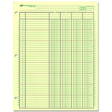 "Analysis Pad, 4 Column, 3 Hole, 2-3/8""W, 11""x8-1/2"", Green"