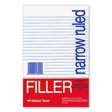 """Filler Paper, Narrow Rule, 8-1/2""""x5-1/2"""", 100 Shper Pack, White"""