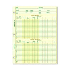 """National Payroll Sheet, 1 Year, 10-7/8""""x8-1/2"""", 100 Sheets"""