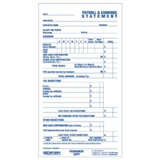 """Individual Time/Payroll Records, Duplicate, 3-3/4""""x6-7/8"""", White"""