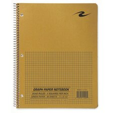 "Quad Notebook, Wirebound, 5x5 Quad, 3-Hole Punch, 11""x8-1/2"", 80 Sh, Brown"