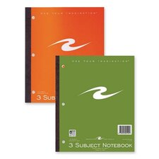 "Notebook, 3-Hole Punch, CR, Perforated, 132 Sheets, 11""x9"", Assorted Cover."