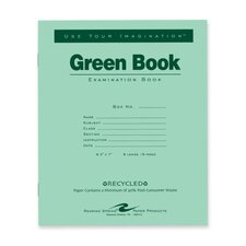 """Exam Book, Wide Ruled, 8 Sh/16 Pages, 8-1/2""""x7"""", 50 per Pack, Green"""