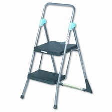 2-Step Steel Commercial Folding Step Stool with 300 lb. Load Capacity