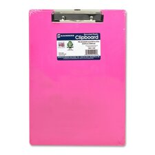 """Plastic Clipboard, Letter, Holds 1/2"""" of Paper, Neon Pink"""