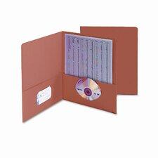 Two-Pocket Portfolio, Embossed Leather Grain Paper, 100-Sheet Capacity, Orange
