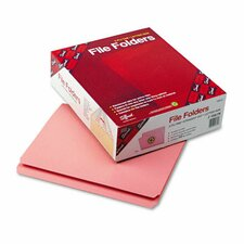 File Folders, Straight Cut, Reinforced Top Tab, 11 Point, Letter, Pink, 100/Box