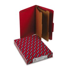 Pressboard Classification Folders, Legal, 6-Section, Bright Red, 10/box