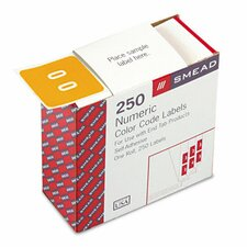 Single Digit End Tab Number 0 Labels, 250/Roll