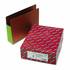 3 1/2 in Expansion File Pockets w/Tyvek, Straight, Letter, Green/Redrope, 10/Box