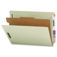 4-Section Pressboard Classification End Tab Folder, 10/Box