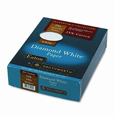25% Cotton Diamond White Business Paper, 500/Box
