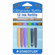 Refill for Calligraphy Set, Black/Blue/Brown/Green/Orange/Pink/Yellow, 12/Pk