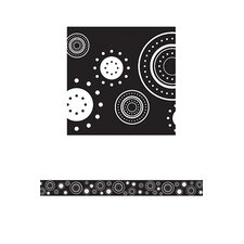 Black/white Crazy Circles Straight Classroom Border (Set of 2)