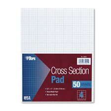 Section Pads, 4 Squares, Quadrille Rule, Letter, 50 Sheets / Pad