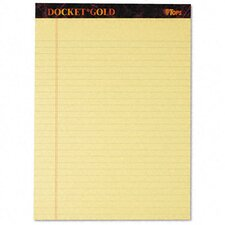 Docket Gold Perforated Pads, Legal Rule, Letter, 50 Sheets, 12-Pack