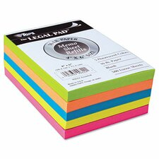 Assorted Fluorescent Color Memo Sheets, 500 Loose Sheets/Pack