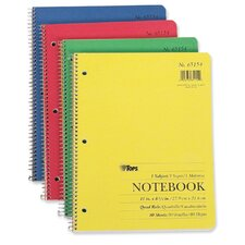 """Notebook, Quad Ruled, 3-Hole Punch, 80 Sheets, 11""""x8-1/2"""", White"""