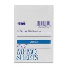 "Memo Sheet, 4"" x 6"", White, 500 Sheets"