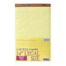 Pad, Perf Top, Law Rule, 50 Sheets, Legal, Canary, 12-Pack
