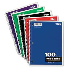 Wirebound 1-Subject Notebook, Wide Rule, 100 Sheets/Pad (Set of 3)
