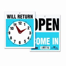 Headline Sign Double-Sided Open/Will Return Sign with Clock Hands