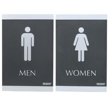 "ADA Signs,""Men/Women"", Adhesive, 6""x9"", Silver/Black"