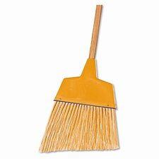 "Angler Broom, Plastic Bristles, 42"" Wood Handle, Yellow"