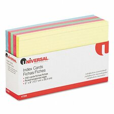 """Universal Index Card, 5""""x8"""", Blue/Salmon/Green/Cherry/Canary, 100/pack (Set of 4)"""
