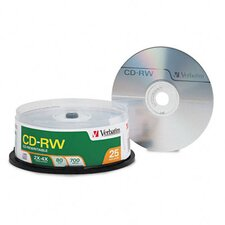 Spindle Cd-Rw Discs, 700Mb/80Min, 4X, Spindle, 25/Pack