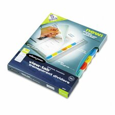 View-Tab Transparent Index Dividers, 8-Tab, Square, Letter, 5 Sets/Box