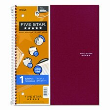 Five Star Wirebound Notebook, College Rule, 3-Hole Punch, 5 Subject 200 Sheets/Pad