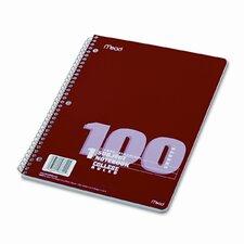 Spiral Bound Notebook, College Rule, 8-1/2 x 11, White, 100