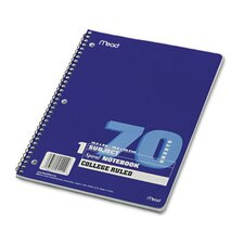 Spiral Bound Notebook, College Rule, 8 X 10-1/2, 1 Subject 70 Sheets/Pad (Set of 4)