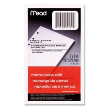 "Memo Book Refill, Narrow Ruled, 6 Hole Punched, 5""x3"", 80 Sheets, White (Set of 5)"