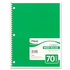 Spiral Bound Notebook, Wide/Margin Rule, 8X10-1/2, 1 Subject 70 Sheets/Pad (Set of 5)
