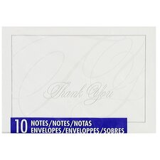 """4"""" x 5.75"""" Embossed Thank You Note (10 Count)"""
