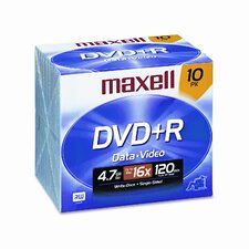 DVD+R Discs, 4.7GB, 16x, with Jewel Cases, Silver, 10/Pack (Set of 2)