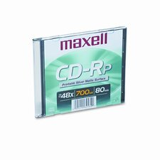 CD-R Disc, 700MB/80min, 48x, with Slim Jewel Case, Printable Matte Silver (Set of 5)